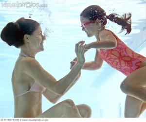 mother daughter swimming